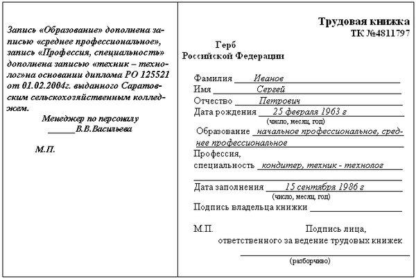 перенос записи на другую страницу в трудовой книжке образец - фото 6