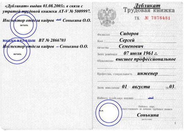 Изображение - Заявление об утере трудовой книжки - образец n010-10-vydacha-dublikata-trudovoy-knizki