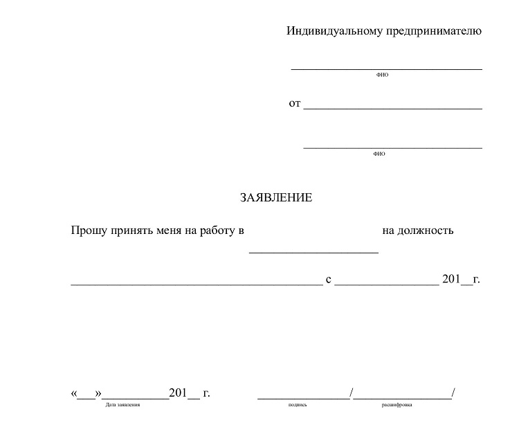 Пример оформления трудовой договор у ип