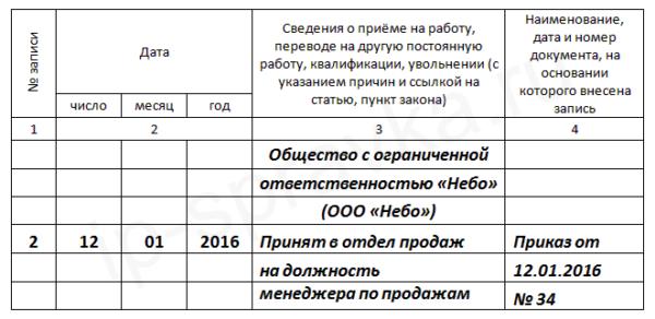 Изображение - Запись в трудовой книжке по срочному трудовому договору - образец OOO-priyom-na-rabotu-600x292